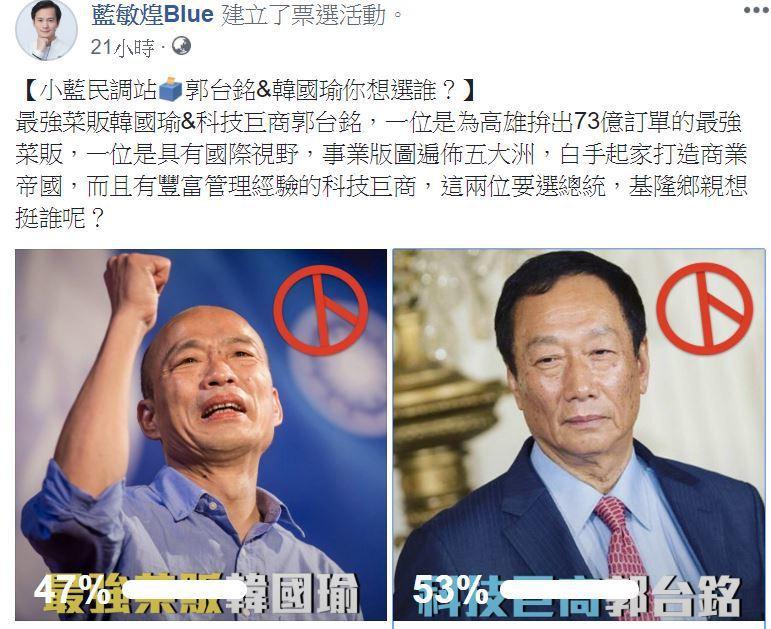 藍營總統初選升溫,有立委參選人在臉書啟動韓國瑜和郭台銘兩人票選PK。圖/翻攝藍敏...