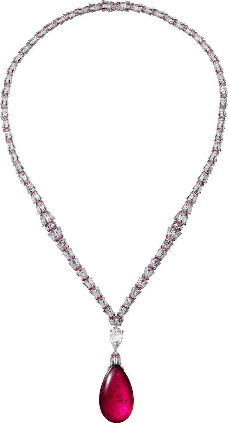 RED FLAMEL紅碧璽項鍊,白K金鑲嵌45.08克拉的水滴形紅碧璽、鑽石、粉...