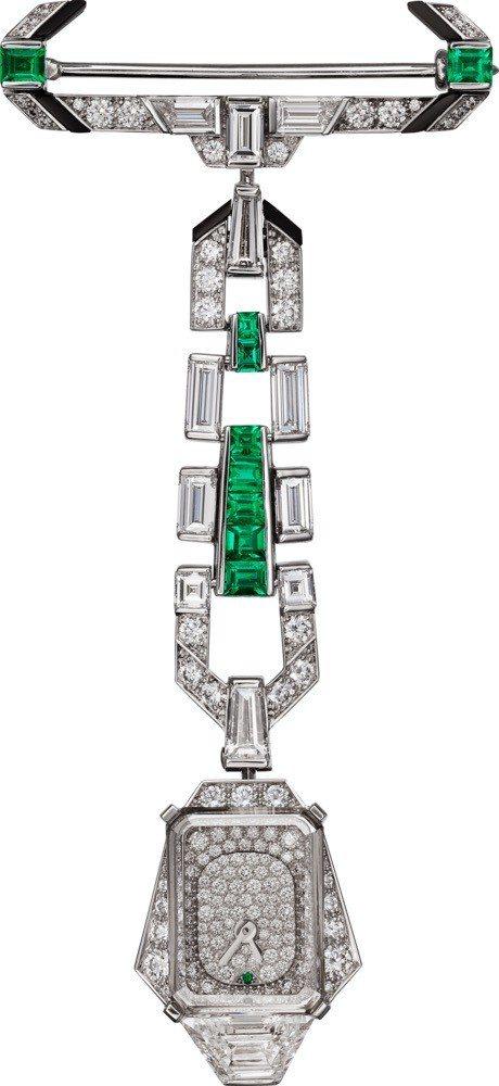 TEMPS D'EMERAUDE 吊墜與胸針表, 鑲嵌8.63克拉方形祖母綠主石...