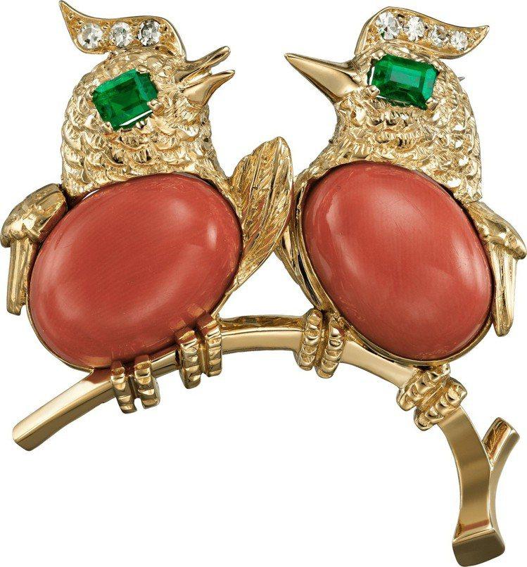 卡地亞古董珍藏系列 Love bird 胸針,1959年作品,203萬元。圖/卡...