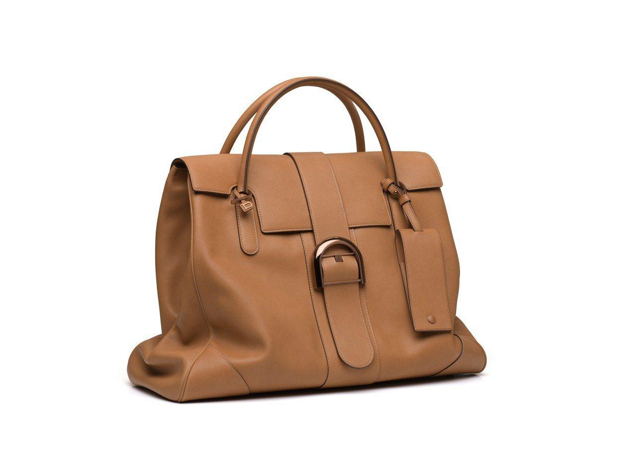Brillant大型茶色牛皮手提包,價格店洽。圖/DELVAUX提供