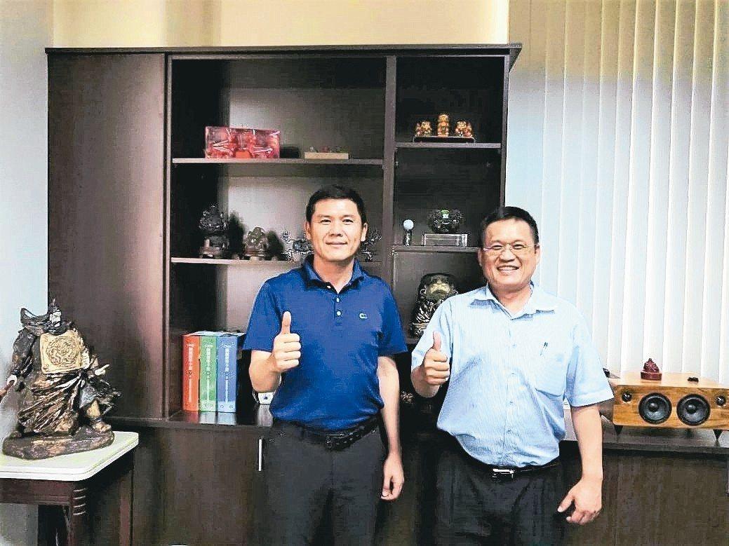台灣浪板型鋼產業協會理事長林恒茂(左)與總幹事林青樺。 莊智強/攝影
