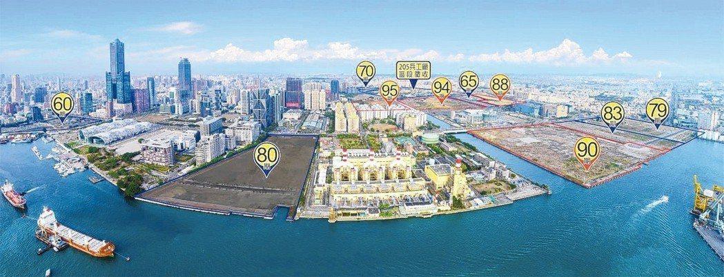 亞洲新灣區公辦開發分布圖。 高雄市地政局/提供