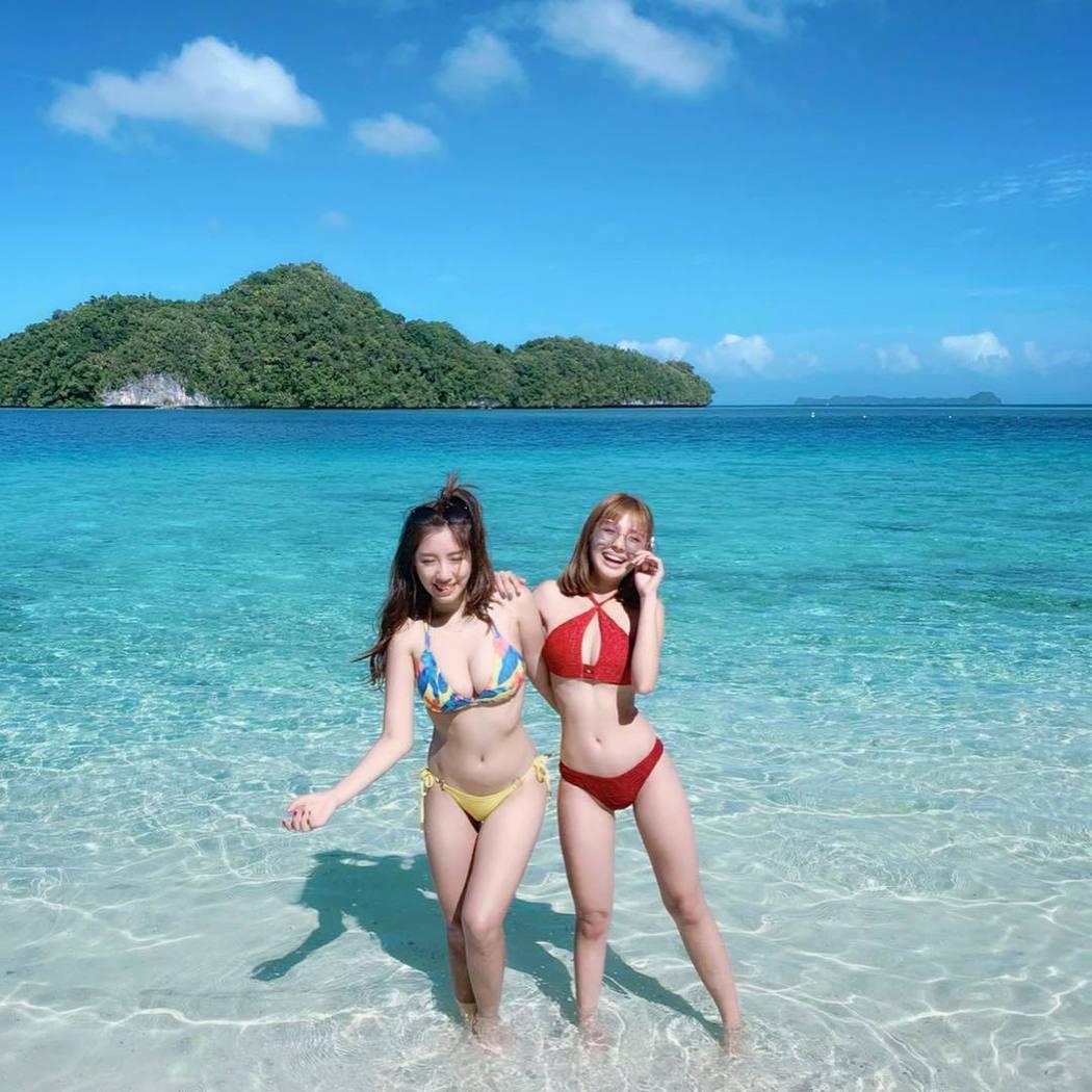 鮪魚與Nono之前一起到帛琉出外景的合照。 圖/擷自鮪魚IG
