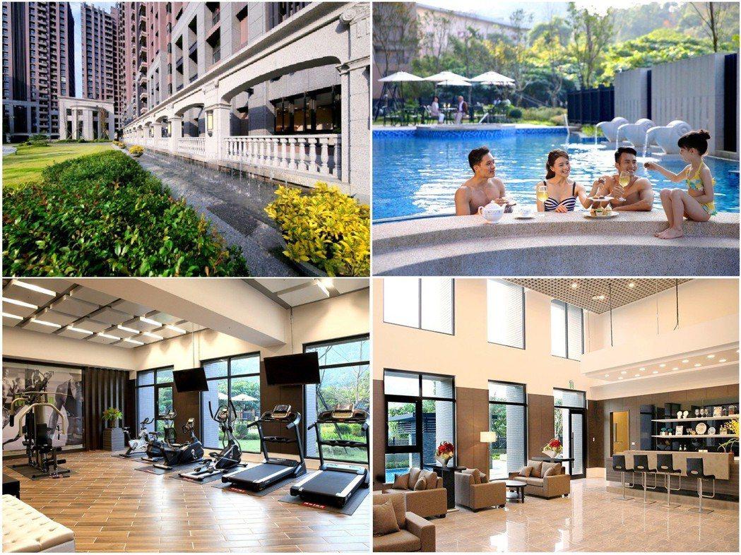 「合陽天擎」的豐富休閒設施,讓不同年齡層的住戶都能享受渡假般愜意生活。(現場公設...