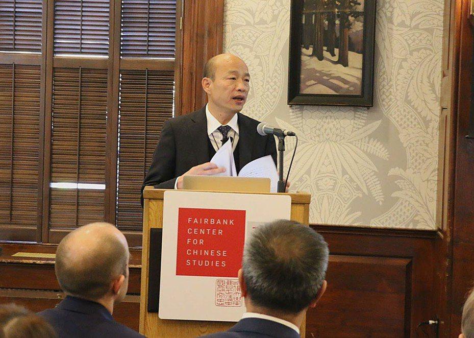 韓國瑜在美推銷九二共識,被認為忽視時空改變。高雄市政府提供