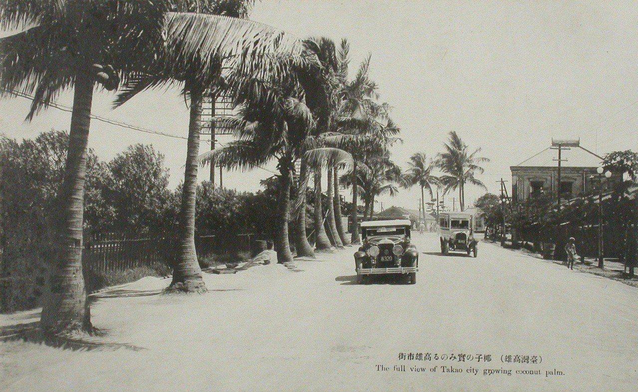 臺灣高雄椰子及高雄市街。日治時期為營造臺灣的「南洋」形象,並配合「南進政策」,政...