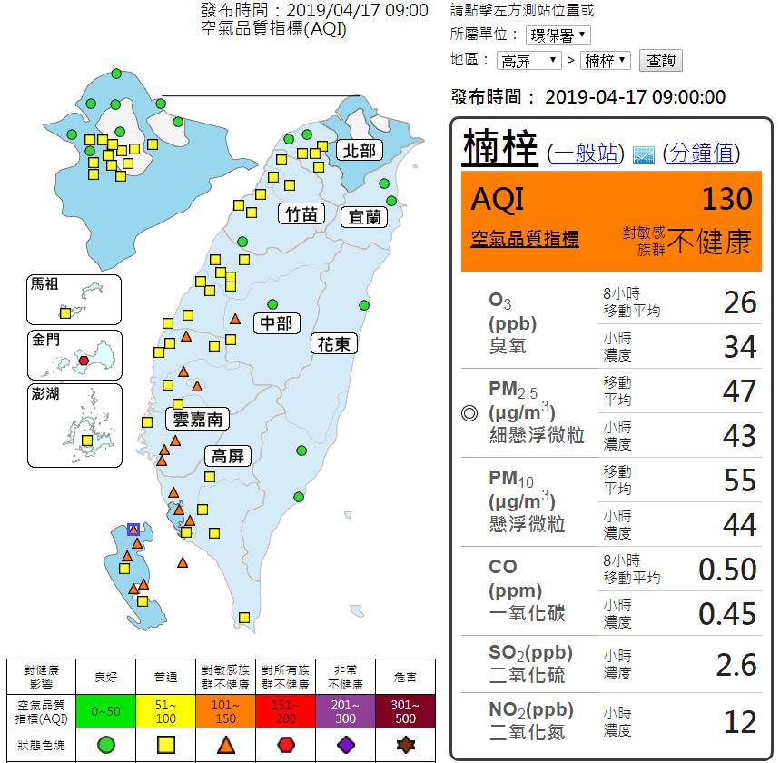 今明兩天留意的是空氣品質。圖/取自空氣品質監測網