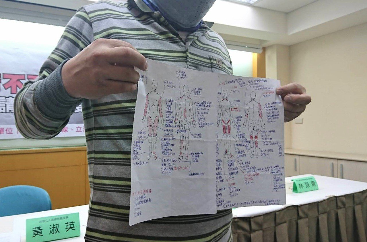 受害者Bella的父親今日出席記者會,拿出自行繪製的圖說明女兒的疼痛部位與病情發...