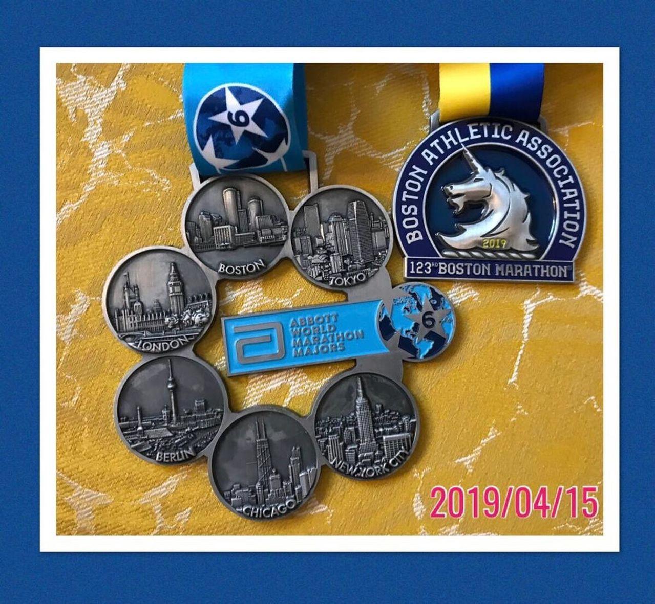 波士頓馬拉松賽6環獎牌,是馬拉松跑者的夢想。圖/宏其婦幼醫院提供
