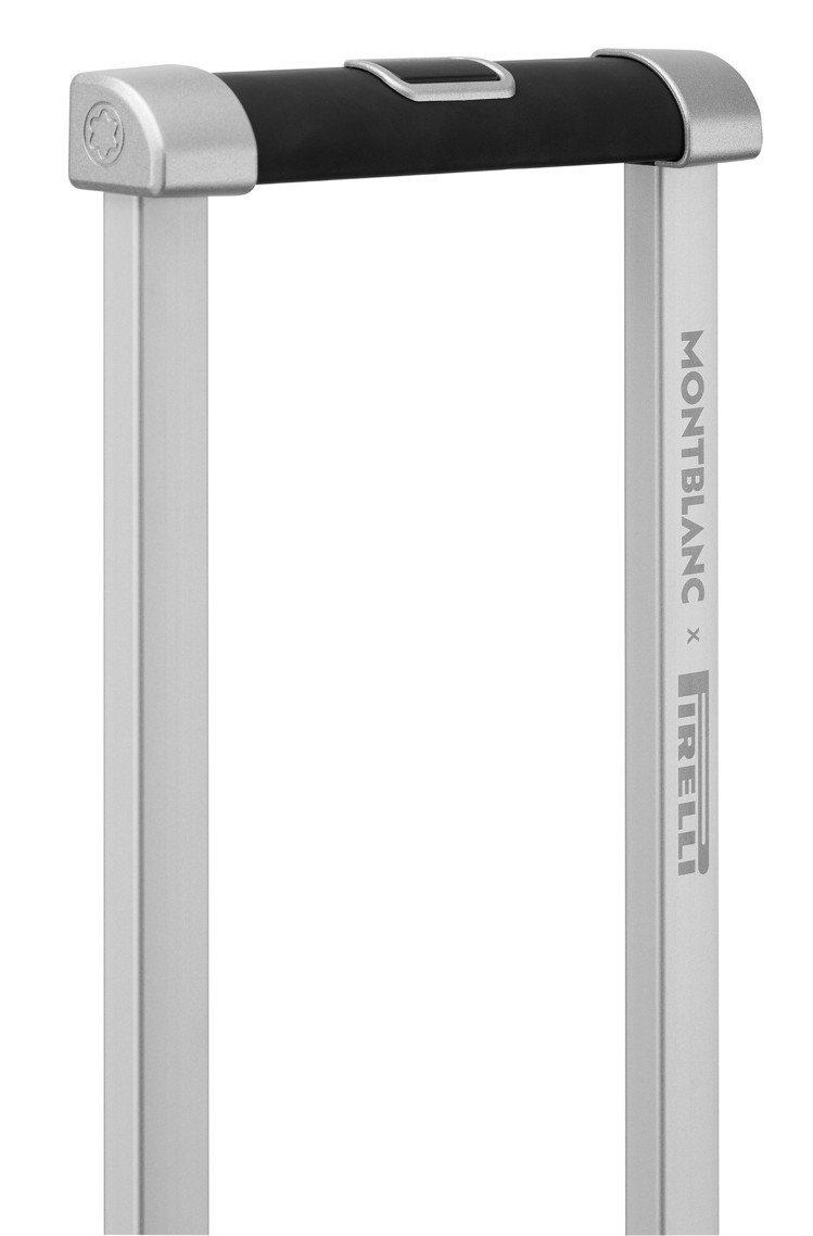 萬寶龍x倍耐力聯名款限量行李箱箱,採用德國製造多段式伸縮手柄。圖/萬寶龍提供