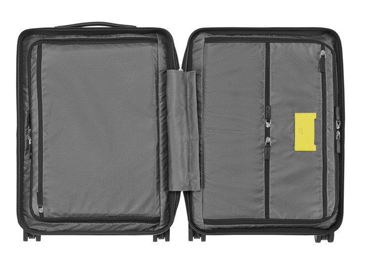 萬寶龍x倍耐力聯名款限量行李箱多功能內層儲物規劃。圖/萬寶龍提供