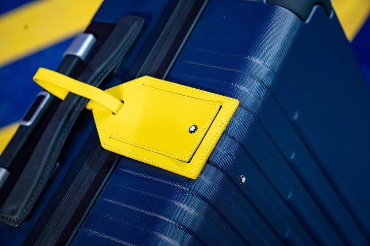 萬寶龍x倍耐力聯名款限量旅行箱附黃色行李吊牌。圖/萬寶龍提供