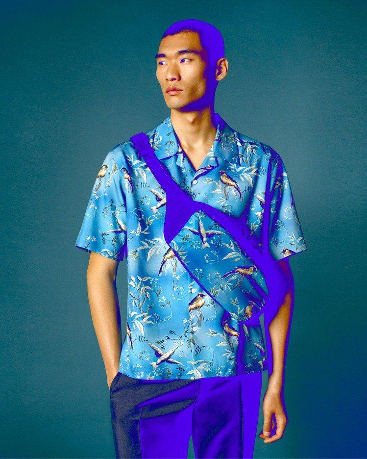 dunhill的Aquarium迷你限量系列的休閒襯衫,呈現手工繪製印花質感。圖...