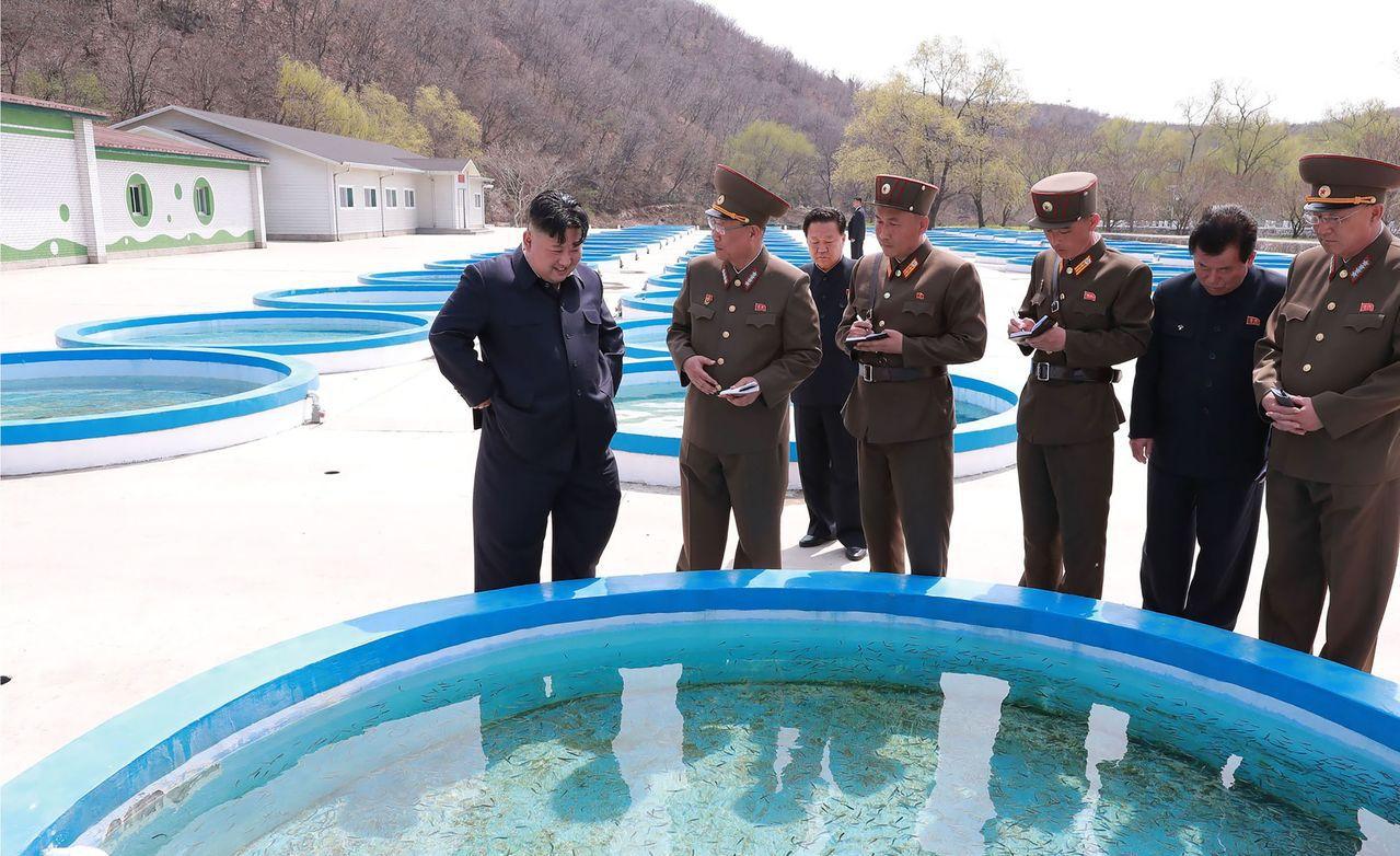 金正恩視察養魚場並給予指示,一旁幹部連忙做筆記。法新社