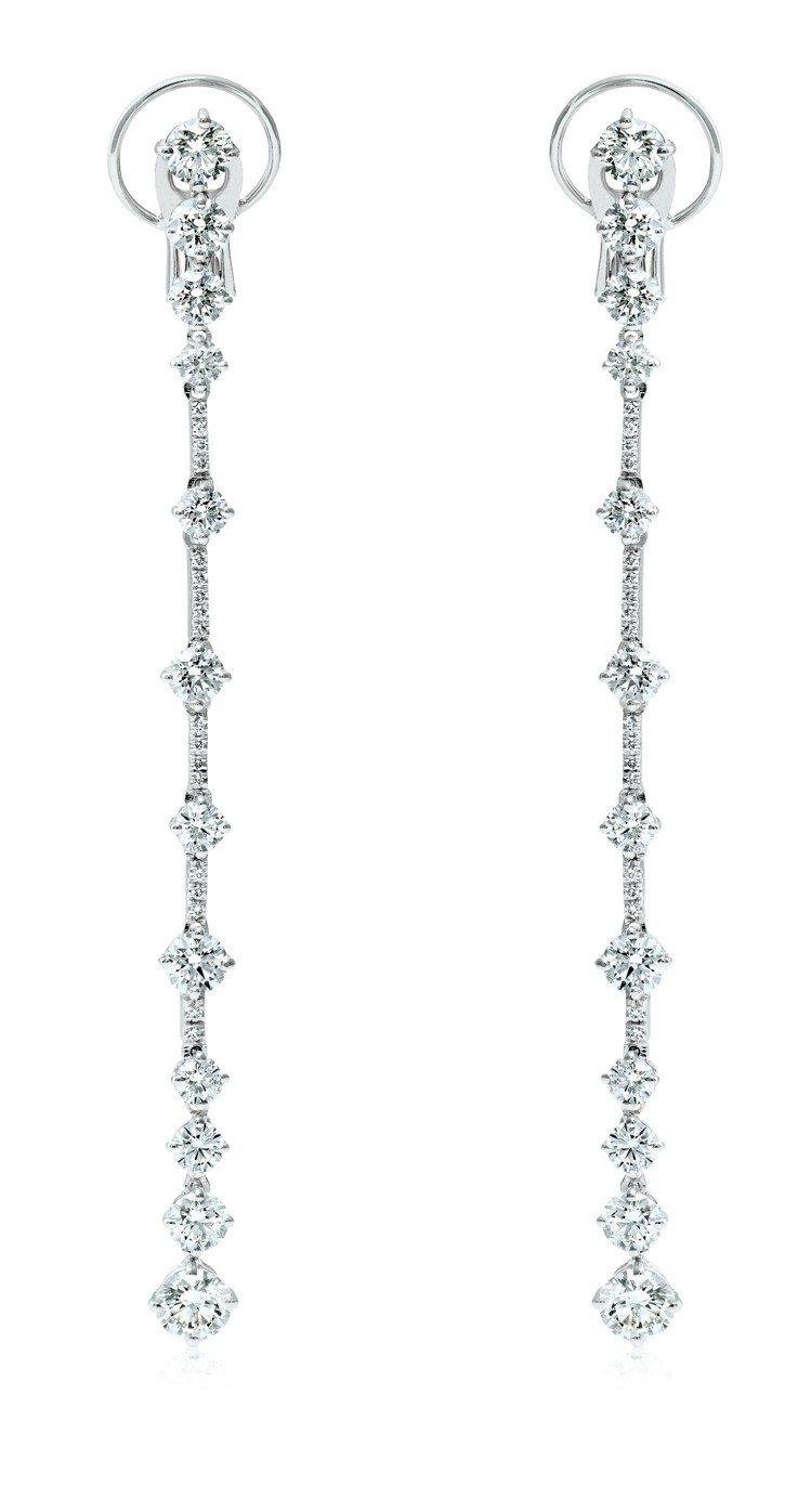 De Beers Arpeggia高級珠寶鑽石耳環,18K白金底座,鑽石總重4....