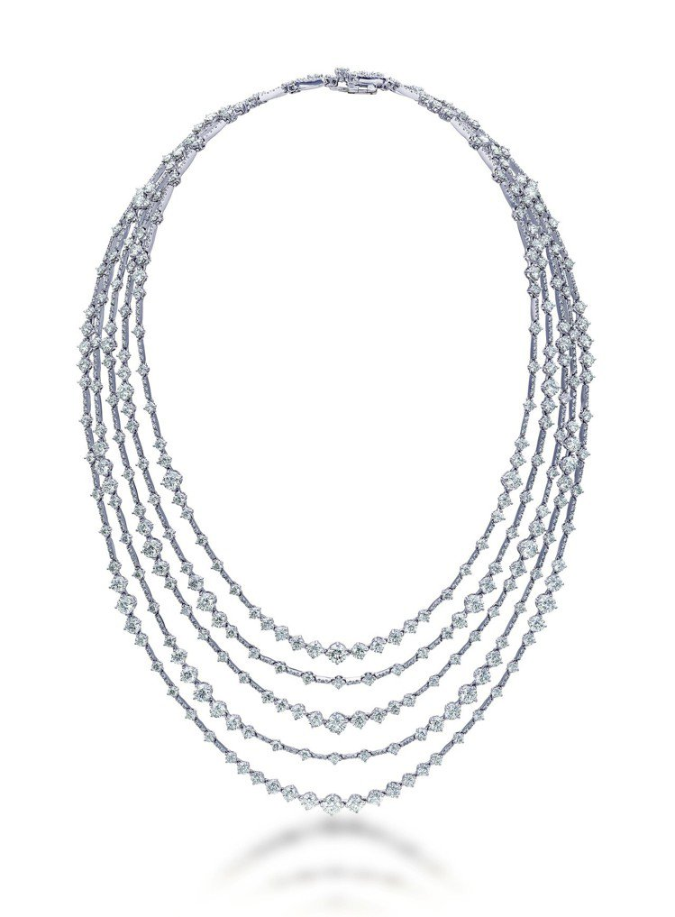 Arpeggia高級珠寶鑽石項鍊,18K白金底座,鑽石總重34.66克拉,價格店...