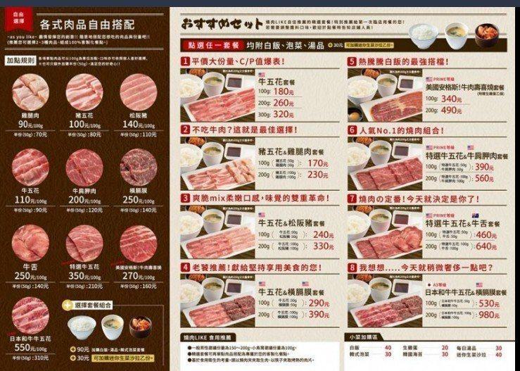 燒肉LIKE台灣首店菜單與價位。圖/京站提供