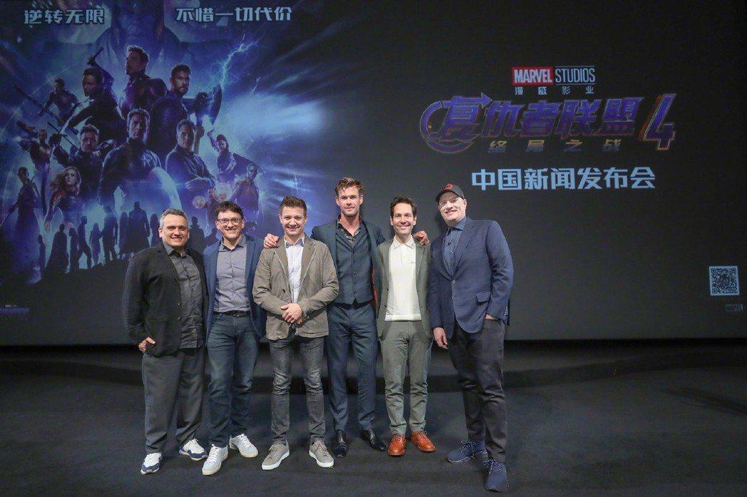 「復仇者聯盟:終局之戰」上海發布會上只有導演羅素兄弟(左起)、傑瑞米雷納、克里斯...