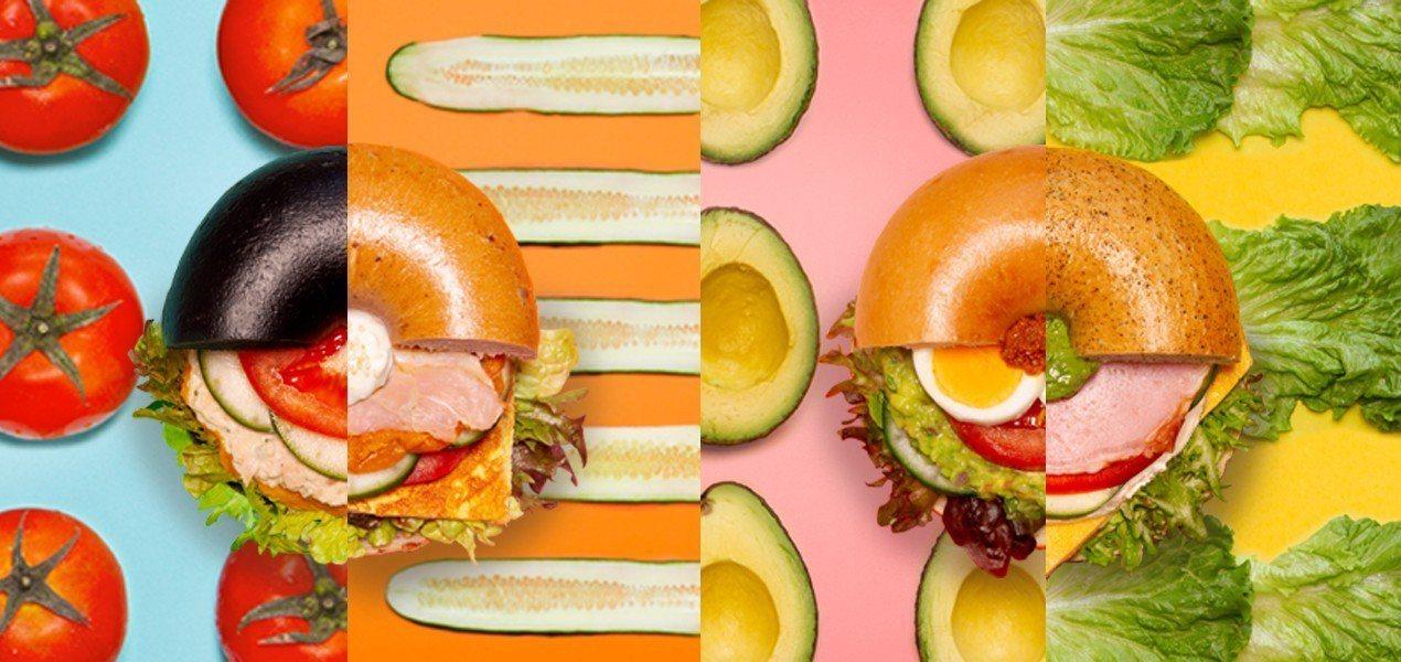 春季新作「蔬爽貝果堡」四種清爽健康風味。圖/好丘提供