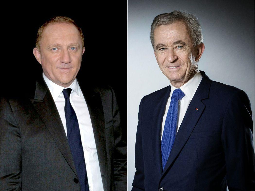 法國兩大精品集團開雲和LVMH老闆皮諾特(左)和阿諾特,分別捐款1億及2億歐元重...