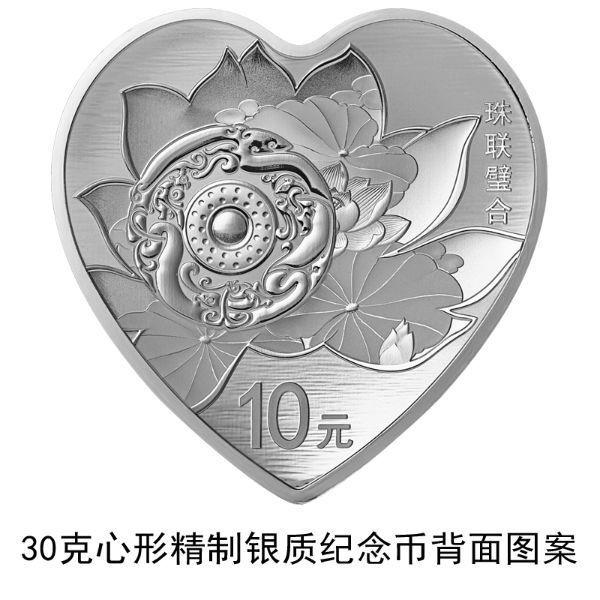 大陸央行將發行「珠聯璧合」心形金銀紀念幣 (取材自人行官網)