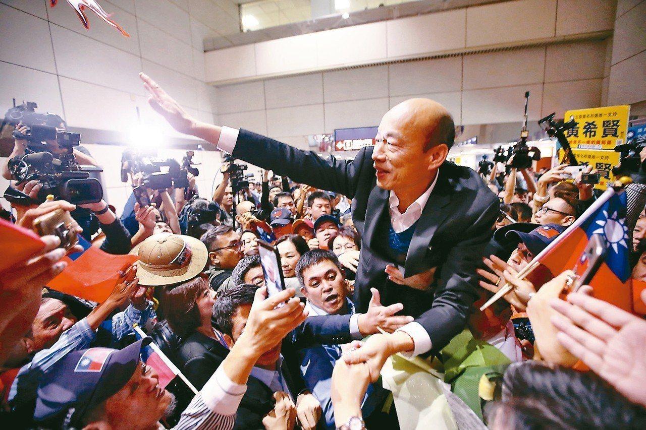 高雄市長韓國瑜結束訪美行程,清晨抵達桃園機場,上百位民眾在入境大廳接機,並高喊「...