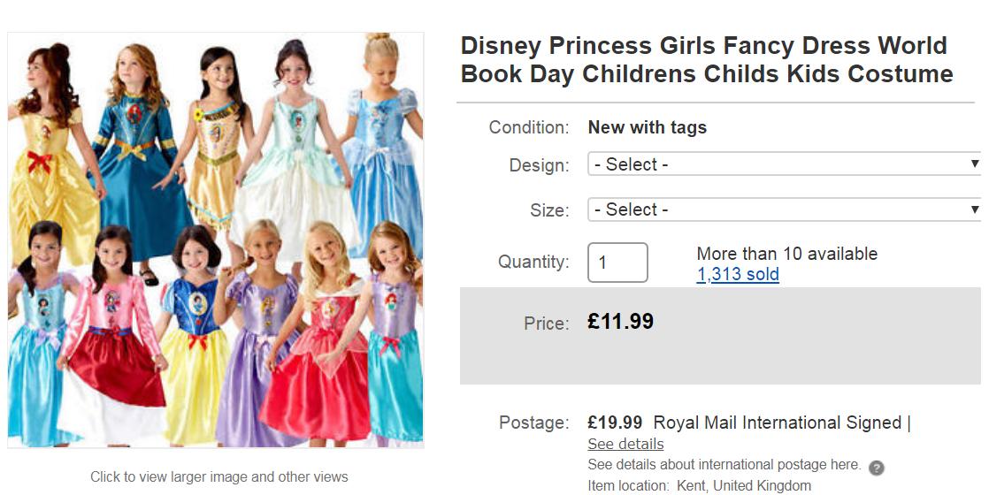 因應World Book Day龐大商機,網購有全系列迪士尼公主裝任你挑選。(截...