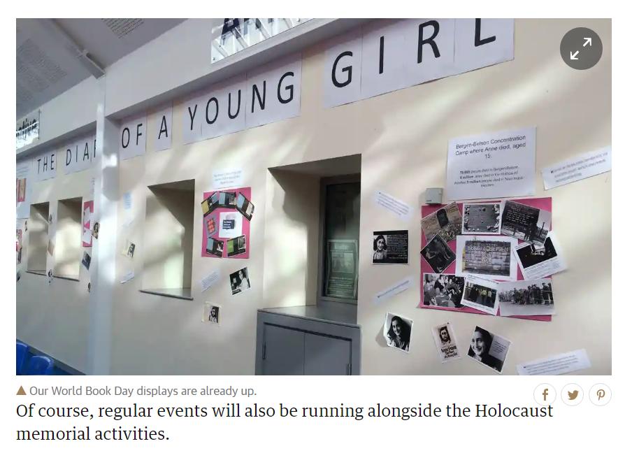 2015適逢大屠殺70週年,有學校以《安妮日記》讓孩子認識歷史傷痛。(截自:th...
