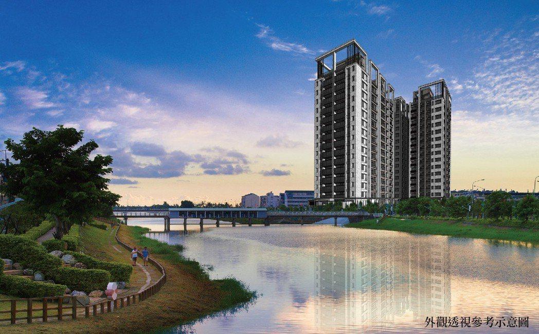 「都市森河畔」外觀透視參考示意圖。圖片提供/都市建設