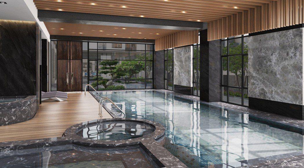 泳池spa 3D透視參考模擬圖。圖片提供/都市建設