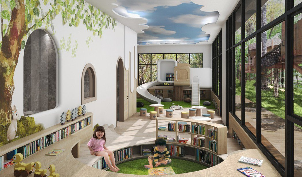 兒童遊戲區 3D透視參考模擬圖。圖片提供/都市建設