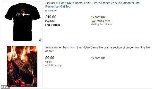 有不肖商人在拍賣網站ebay上,拍賣「巴黎聖母院燒焦木材」及哀悼T恤,目前該商品...