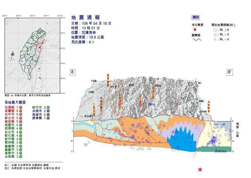 今天13點01分,發生芮氏規模6.1地震,震央在花蓮縣秀林鄉,深度19公里,全台...