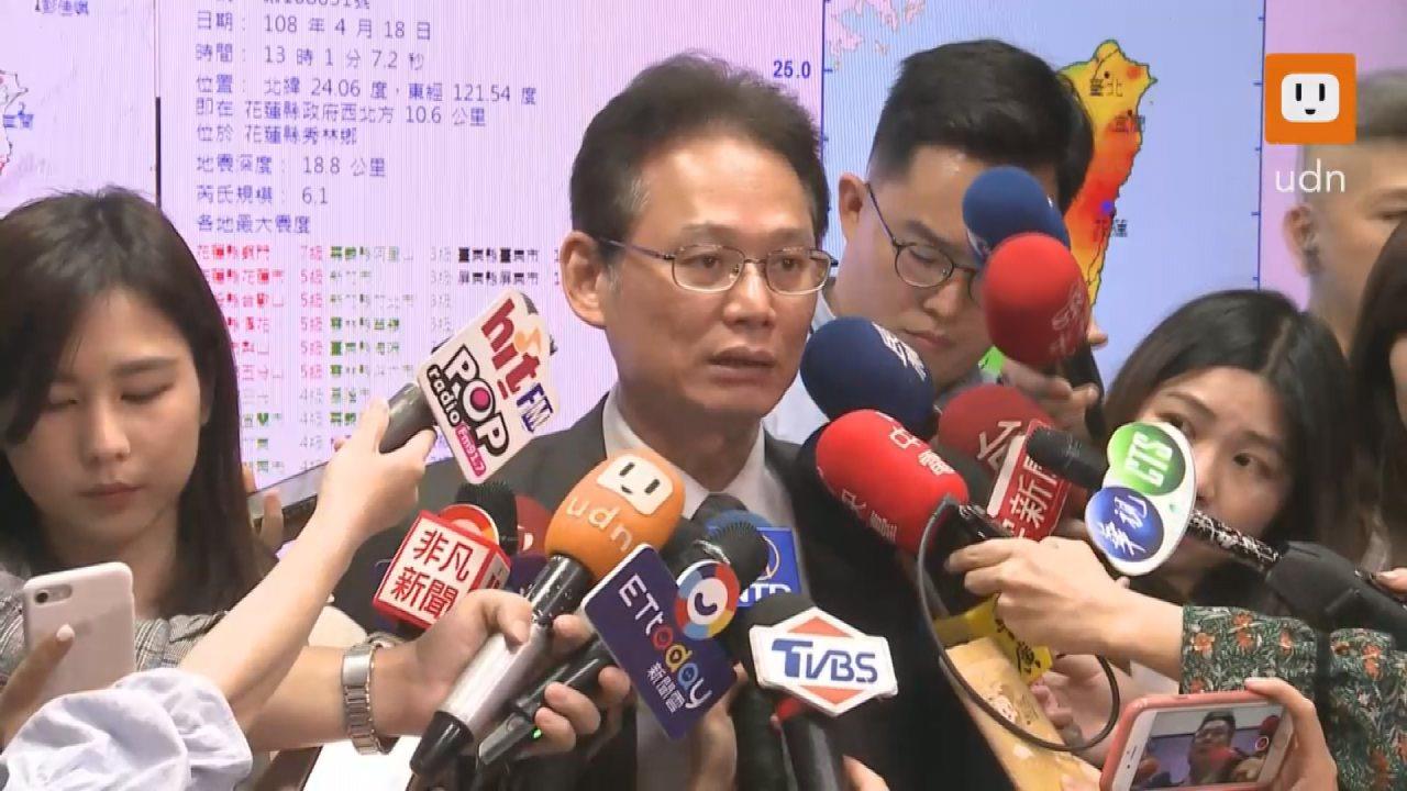 中央氣象局測報中心主任陳國昌表示,不排除在一周之內有規模5以上的餘震。記者陳煜彬...