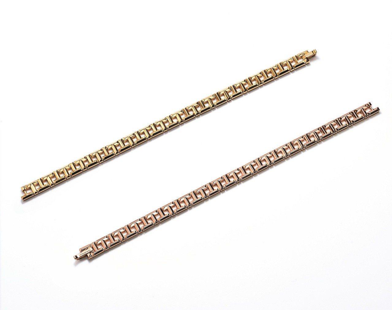 Tiffany T True 鏤空T字設計手鍊,18K黃金、下18K玫瑰金,各約...