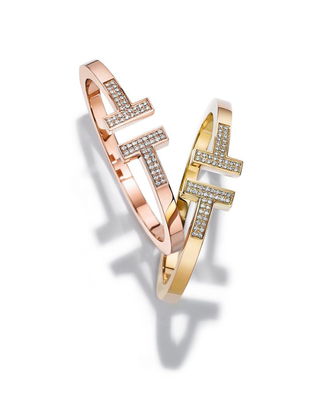Tiffany T Square 鑲鑽石手環,約42萬4,000元。圖/Tiff...