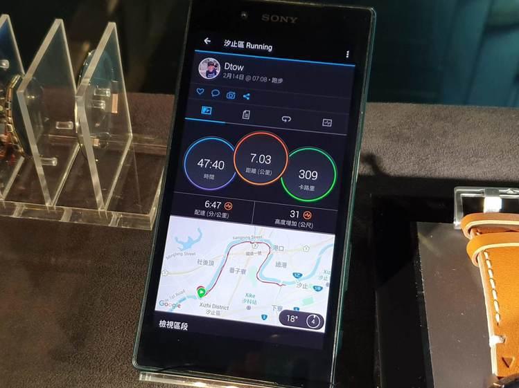 搭配專屬App,可進行全天候詳細活動追蹤。記者黃筱晴/攝影