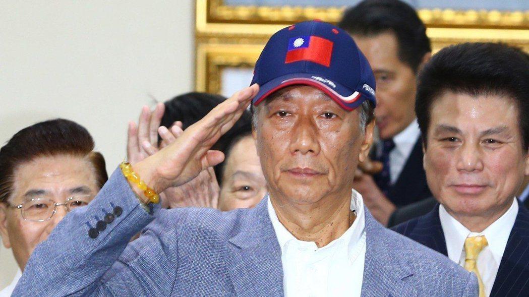 鴻海董事長郭台銘17日宣布投入國民黨初選。  記者陳柏亨/攝影