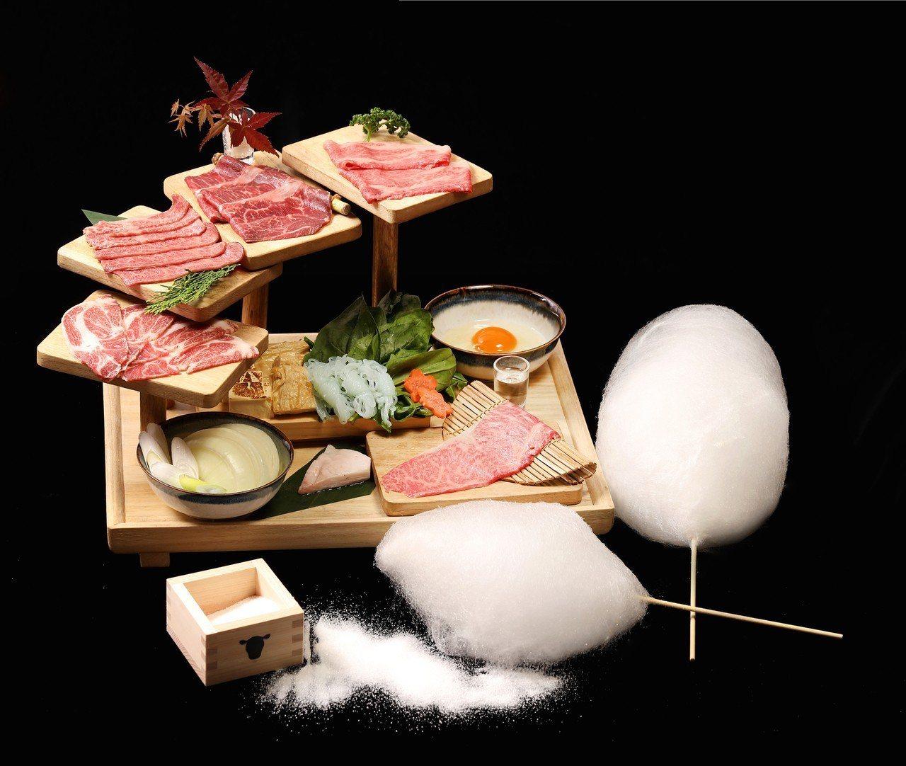 樂軒松阪亭新推出「棉花糖和牛壽喜燒」,可品嚐到250g的肉品,每套1,480元。...
