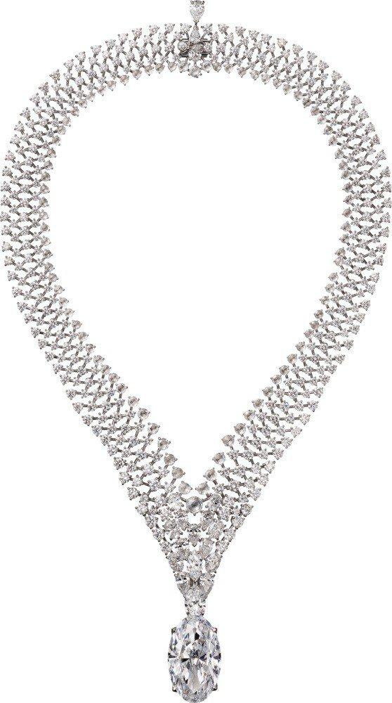 卡地亞TANABATA 項鍊與戒指,主石為37.27克拉DIF等級美鑽,鑽石吊墜...