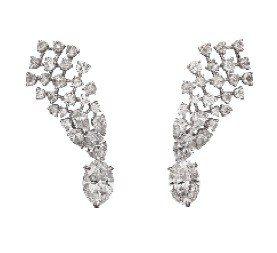 卡地亞TANABATA鑽石耳環,白K金鑲嵌兩顆D/IF橢圓形主石共6.10克拉,...
