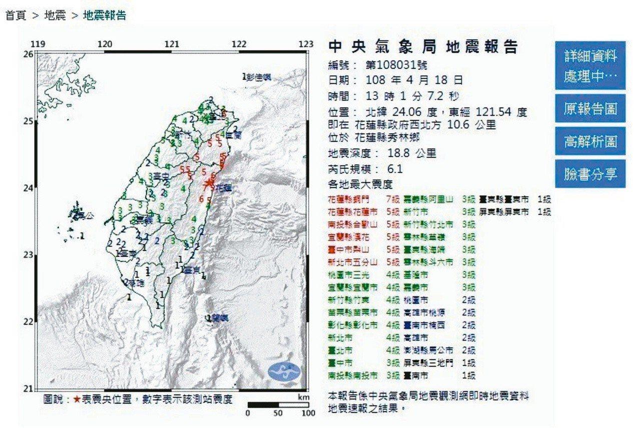 4月18日13時01分,花蓮地區發生芮氏規模6.1有感地震。 圖/摘自中央氣象局...