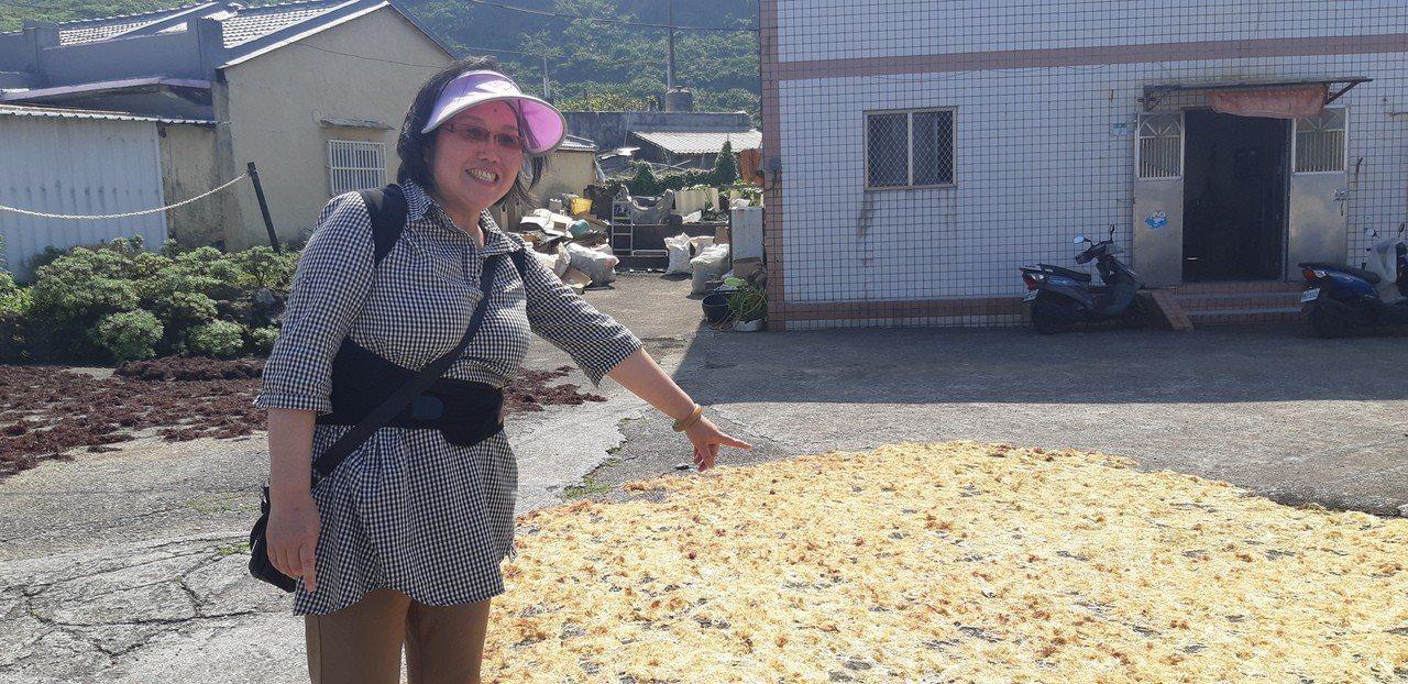 村民興奮手指曬乾的石花菜。記者賴郁薇/攝影