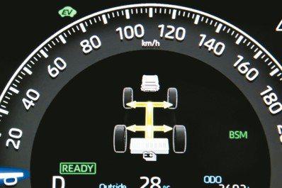 開著油電混合(Hybrid)車型,儀表板特有的圖象樂趣。 圖/陳志光