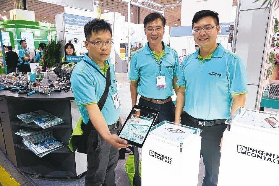 菲尼克斯全產品用AR方式呈現給客戶,業者可輕易了解應用智慧元件後的情況。 金萊萊...