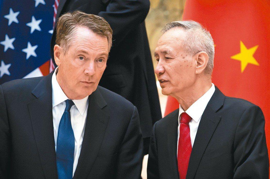 美國貿易代表賴海哲(左)與中國副總理劉鶴 (美聯社)