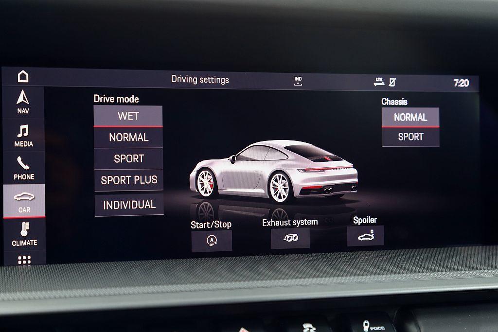 Porsche首創且列為標準配備的Wet Mode濕地模式可偵測路面水灘,針對溼...