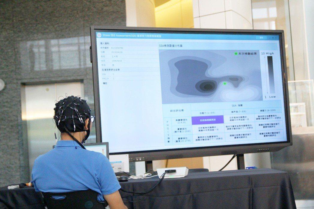 北科大及仁寶電腦合作發表智慧醫療研發成果,藉由電極帽傳送腦波信號給AI腦波輔助診...