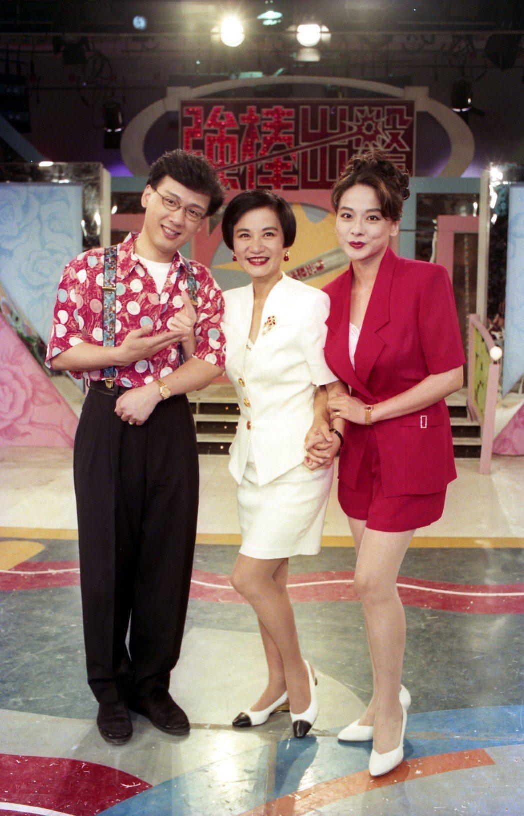 綜藝節目「強棒出擊」二日錄影現場,左起為李茂山、張小燕與王瑞玲。 本報資料照片